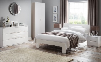 Abdabs Furniture - Manhattan High Gloss White Trio Bedroom Set